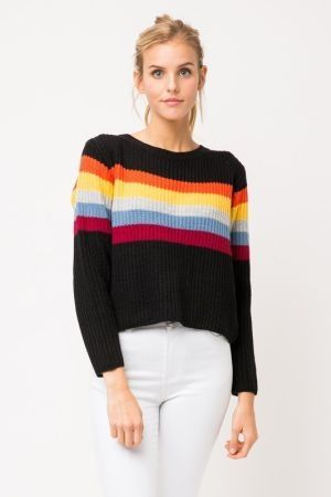 Rainbow stripe semi crop knit sweater