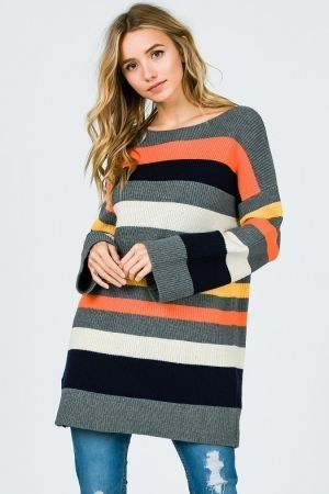 Stripe color block knit sweater tunic top