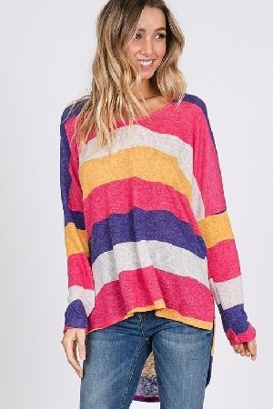 Stripe hi low knit tunic top