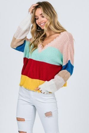 Worn out hemline color block sweater