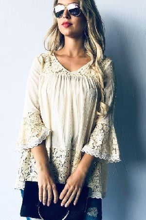 Bell Sleeve Lace Trim Tunic Casual Top