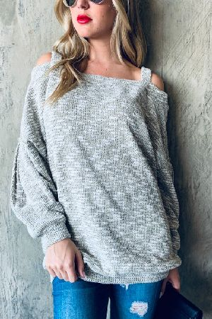 Cold Shoulder Knit Casual Top