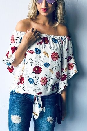 Floral Off Shoulder Tie Front Top