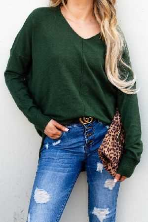 Cozy Warm Long Sleeve V Neck Pullover Sweater
