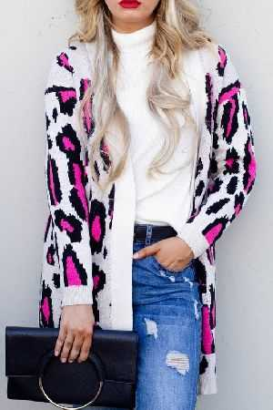 Leopard Print Open Front Loose Fit Sweater
