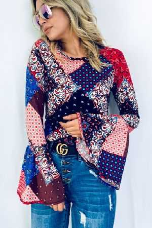 Multi Color Printed Bell Sleeve Casual Top