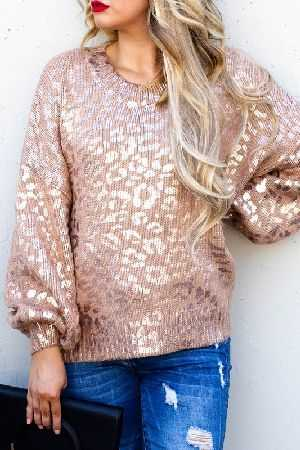 Pink Gold Leopard Printed Balloon Sleeve Sweater