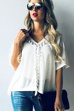 Casual boho short sleeve top with tassel