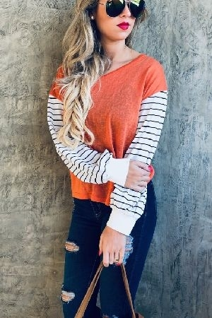 Strip bell sleeve v neck casual top