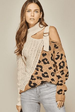 Cute chic leopard cold shoulder sweater