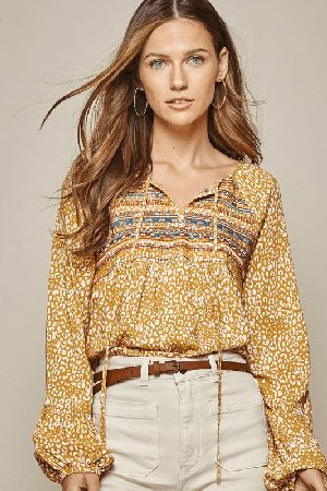 Leopard printed embroidery top