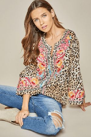 Leopard tunic top with bell sleeves
