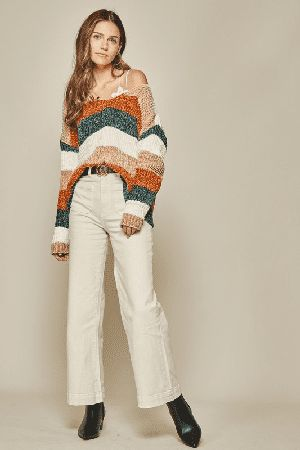 Super trendy chic color block sweater