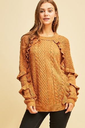 Cable knit ruffle detail sweater