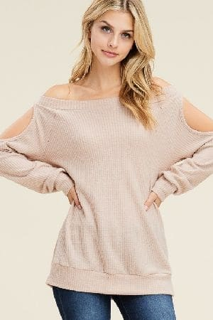 Long sleeve off shoulder solid top