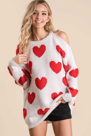 ALL OVER HEART PRINT SWEATER KNIT TOP