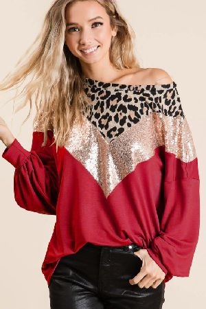 FRENCH TERRY TOP WITH LEOPARD YOKE AND SEQUINS