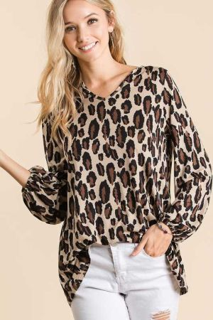 LEOPARD SOFT KNIT TOP WITH BUBBLE SLEEVES