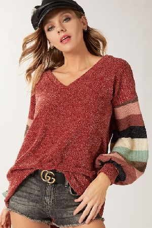 Sweater Hacci V neck Top With Multi Color Stripe