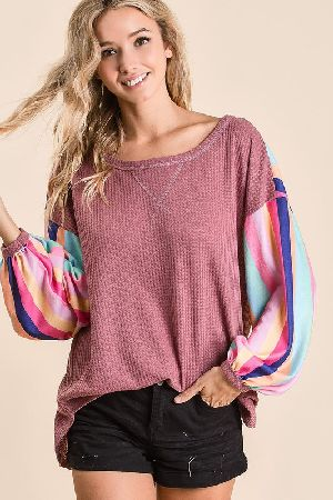 THERMAL WAFFLE TOP WITH BRUSHED MULTI COLOR STRIPE