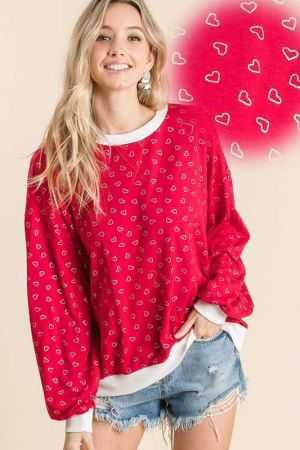 ALL OVER SMALL HEART PRINT SWEATER