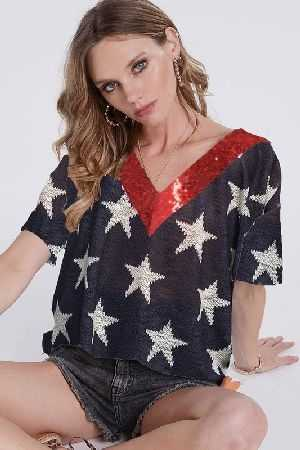 All over star print knit top