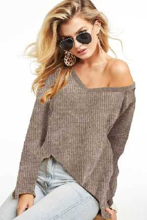 CHENILLE YARN SWEATER V NECK TOP