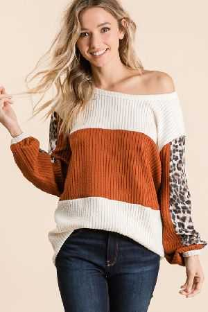 CURLY RIB COLOR BLOCK TOP