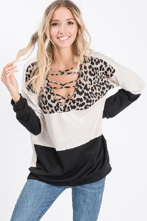 French Terry Color Block Top With Leopard
