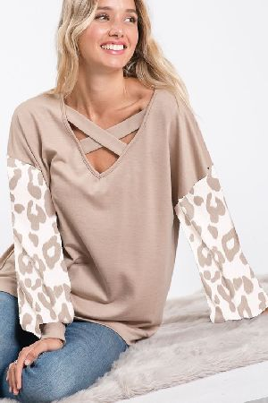 French Terry Top With Leopard Puff Sleeves