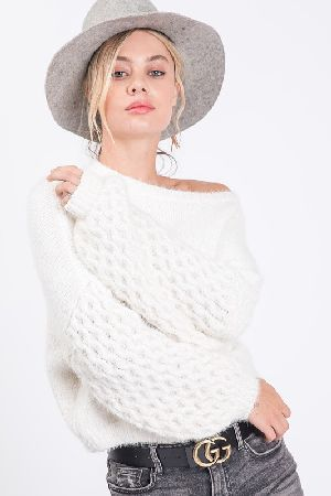 Hairy Sweater With Chain Weave Balloon Sleeves