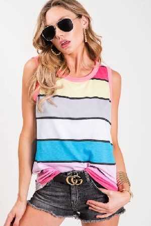 Sleeveless multi color stripe top
