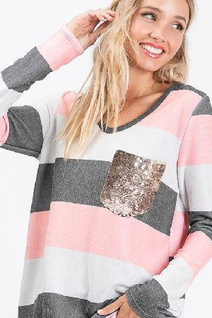 Striped knit sweater top