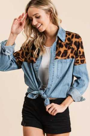 WASHED DENIM SHIRT WITH LEOPARD PATCH SHOULDERS