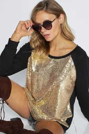 Jersey knit pull over with sequins front
