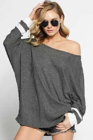Thermal waffle wide neck top with contrast cuffs