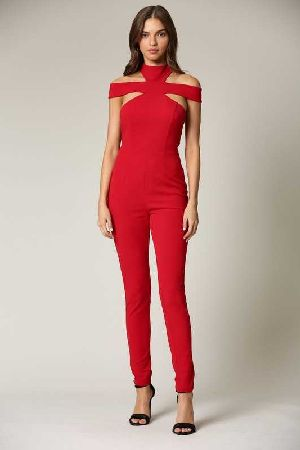 Red Modern cut silhouette bodice jumpsuit