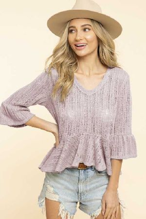 low gage ruffle knit top