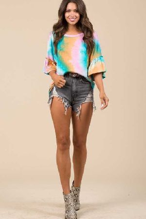 Tie dyed ruffled short sleeve top