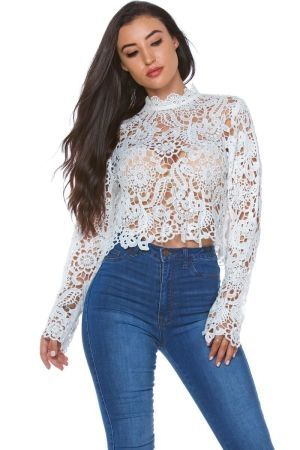 Crochet lace top with back zipper