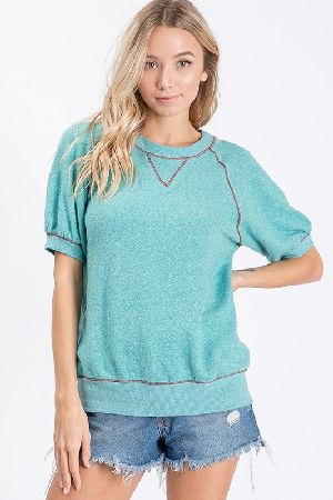 2 tone soft brushed knit matched rib lounge top
