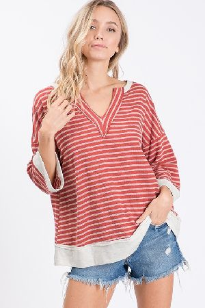Cozy V-neck detail yarn dye cotton stripe easy top