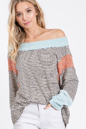 Dolman Long Sleeve Stripe Knit Top