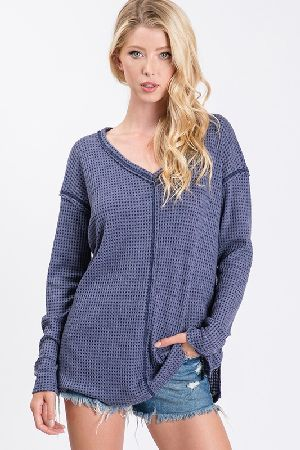 Long Sleeve V-neck Thermal Fabric Waffle Knit Top