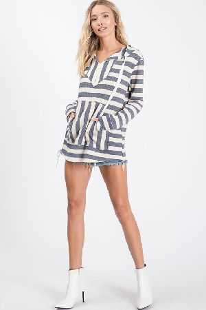 Basic stripe printed yarn dyed fabric hoodie