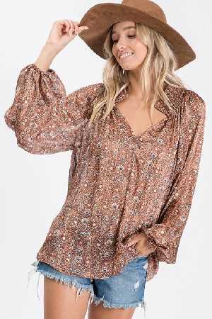 Floral print woven fabric sheer blouse