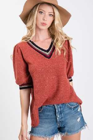 Lurex brush hazzy rib band inserted v neck top
