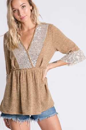 Two tone knit and sequins detail babydoll top