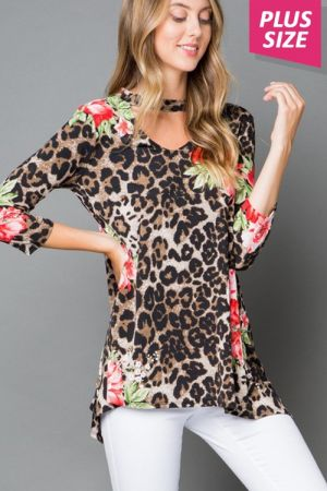 Leopard animal print plus size tunic top