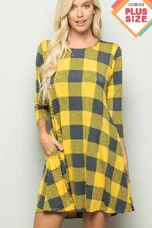 Plaid Print Dress With Side Pocket Plus Size